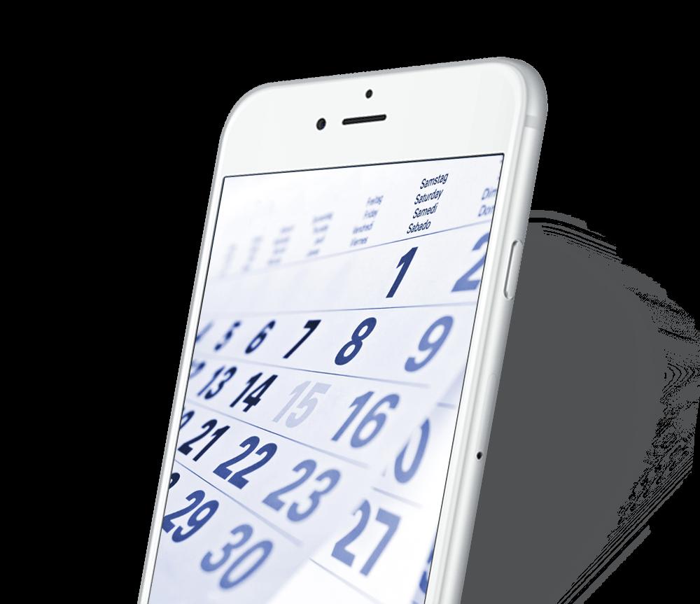 Smartphone calendrier horaire de prière